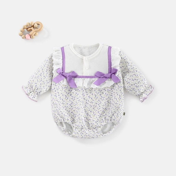 Baby Ditsy Floral Print Bow Front Bodysuit, Multicolor