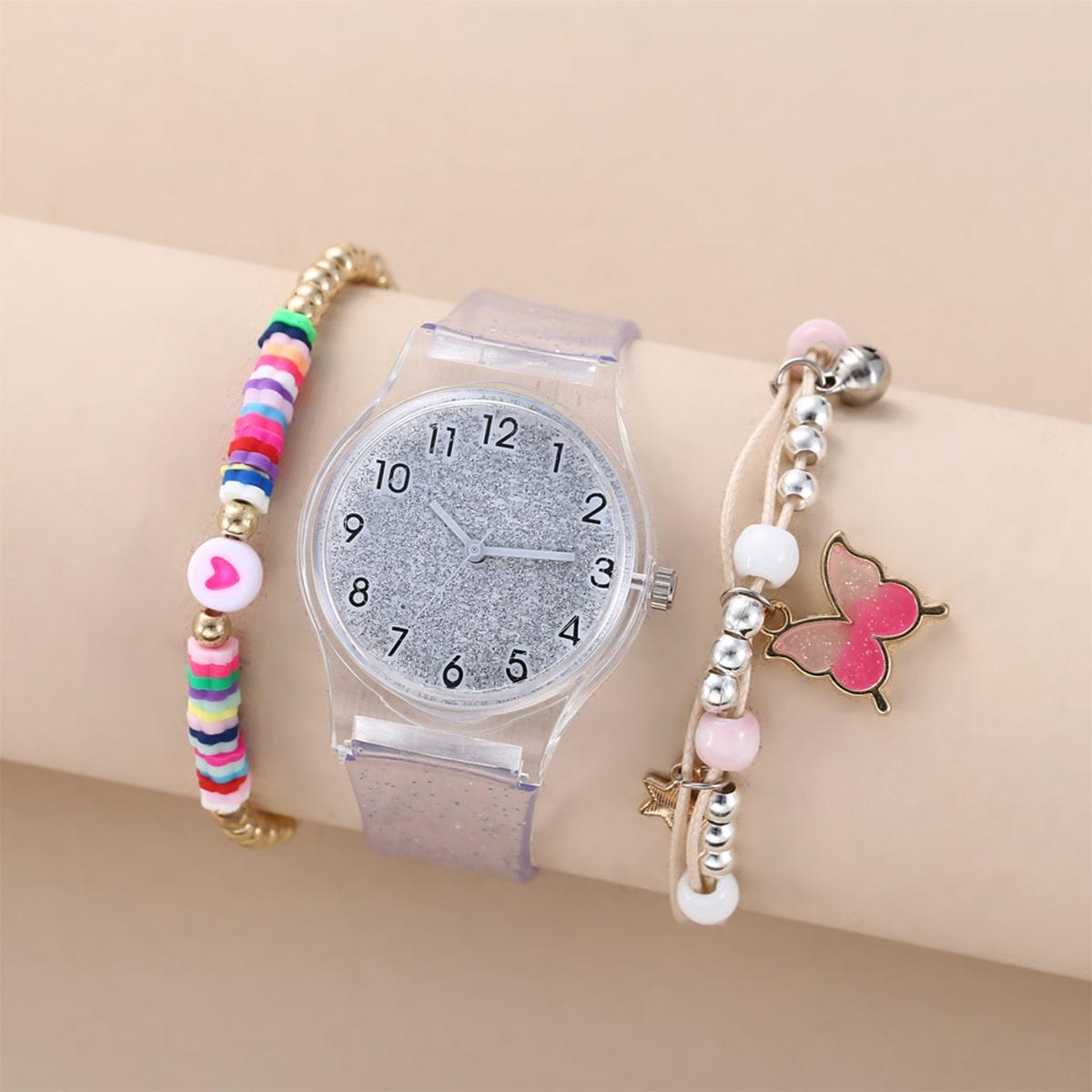 1шт блестящие кварцевые часы с прозрачным ремешком и 2шт браслет