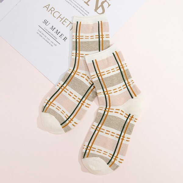 Plaid Print Crew Socks, Beige