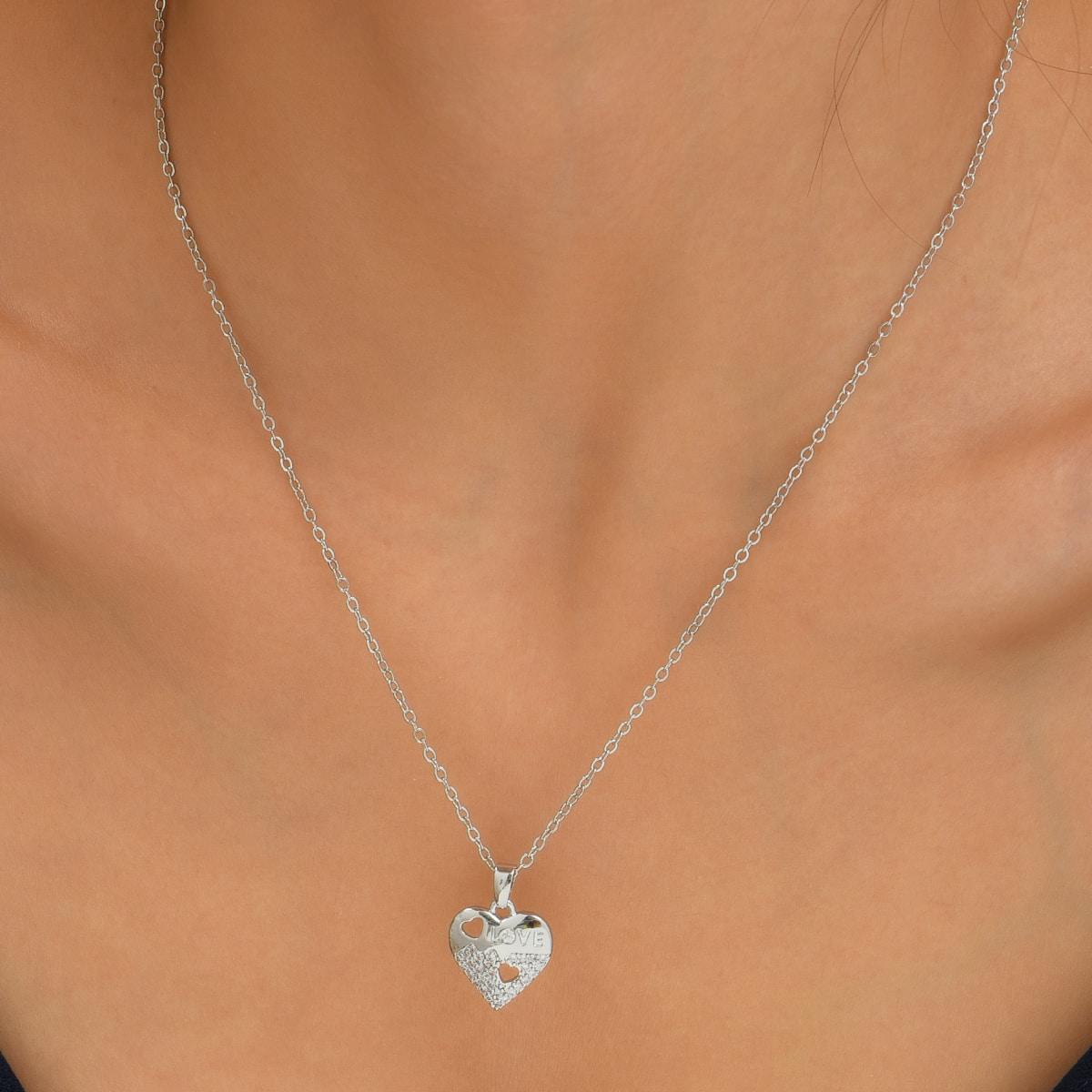 - Zircon Heart Charm Necklace