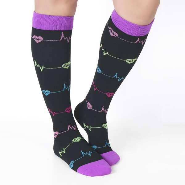 1pair Heart Pattern Sports Compression Socks, Black