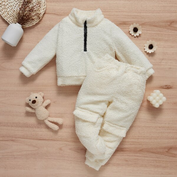 Toddler Girls Half Zip Teddy Pullover & Flap Detail Sweatpants, Apricot