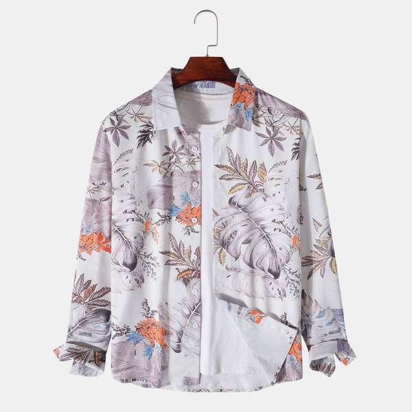 Men Tropical Print Button Through Shirt Without Tee, Multicolor