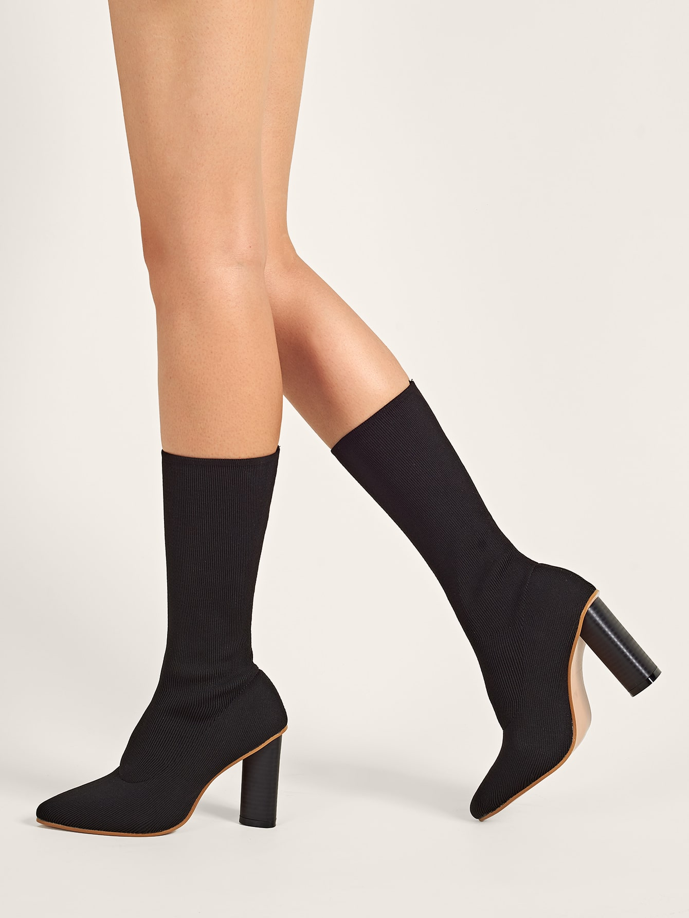 Solid Point Toe Chunky Heeled Sock Boots