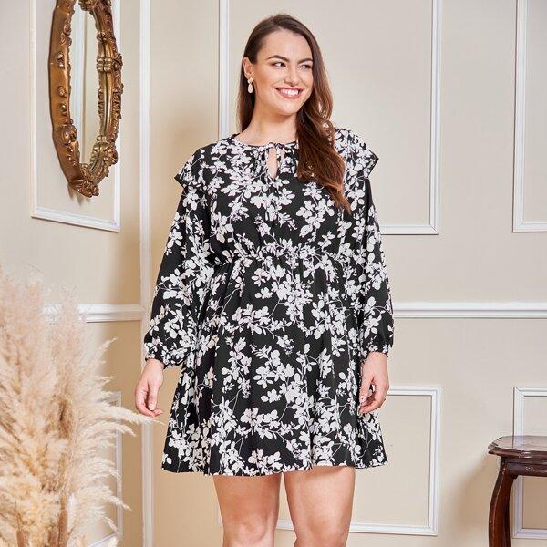 Plus Tie Neck Floral Print Dress, Black and white