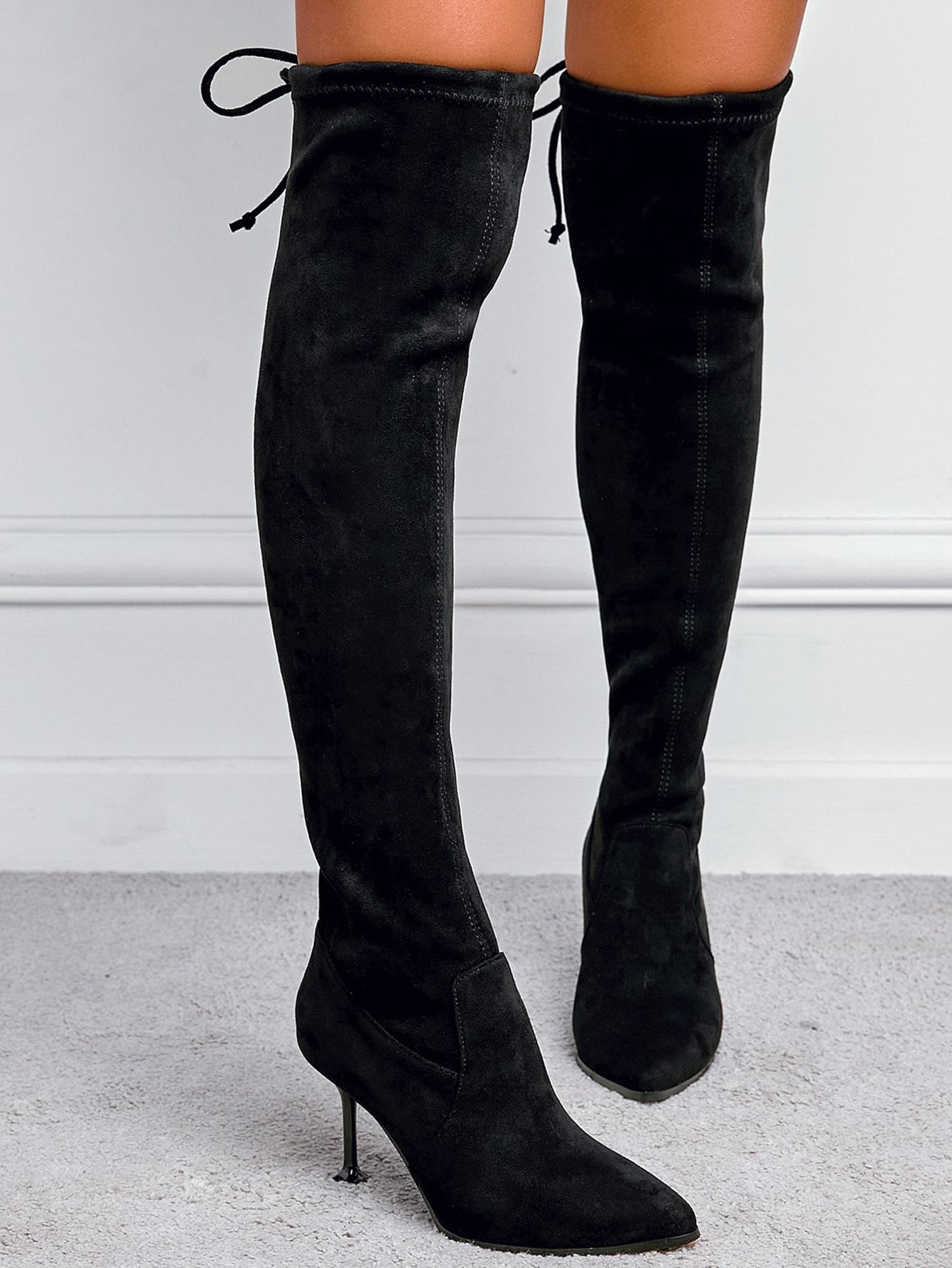 Point Toe Stiletto Heeled Knee Sock Boots