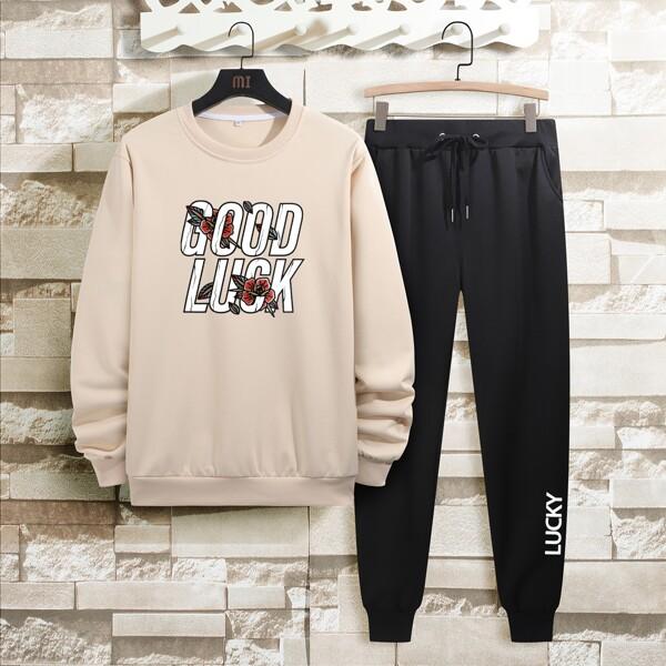 Men Floral & Slogan Graphic Sweatshirt & Drawstring Waist Sweatpants, Multicolor