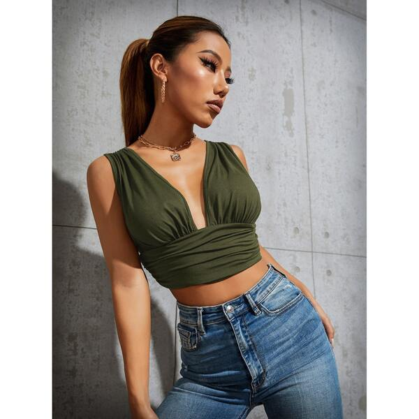 Plunging Neck Crop Tank Top, Army green