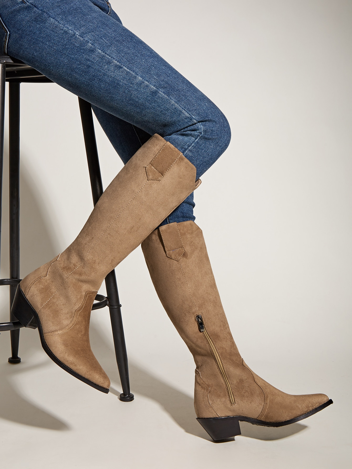 Suede Side Zip Riding Boots