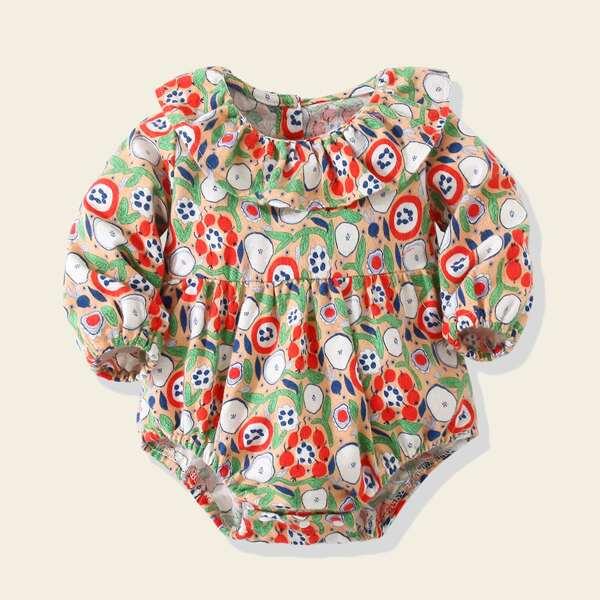 Baby Plants Print Ruffle Trim Bishop Sleeve Bodysuit, Multicolor
