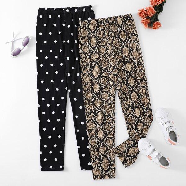 Girls 2pcs Polka Dot & Snakeskin Print Leggings, Multicolor