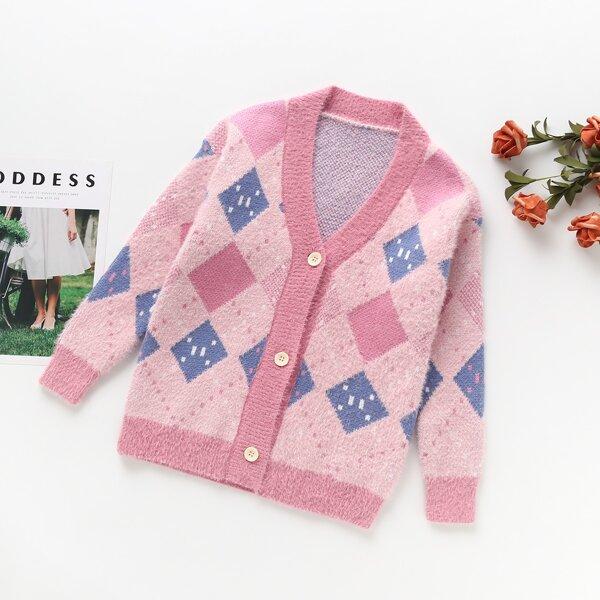 Girls Argyle Pattern Fluffy Knit Cardigan, Pink