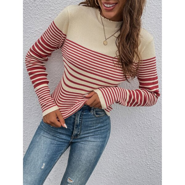Striped Pattern Mock Neck Sweater, Red and white