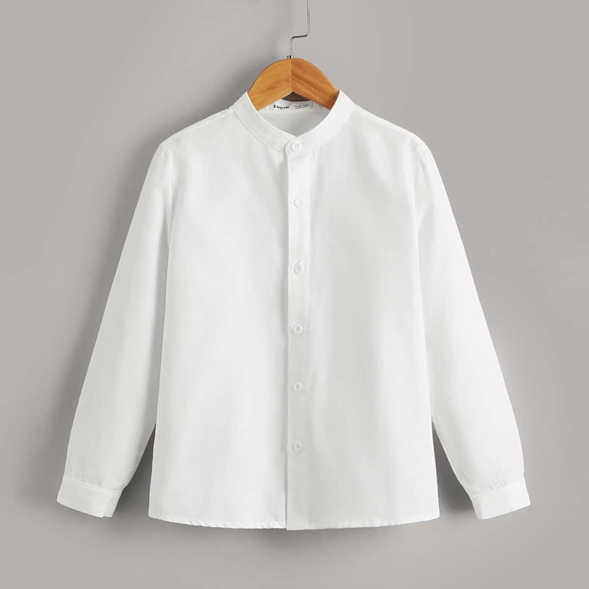 Однотонная рубашка на пуговицах для мальчиков