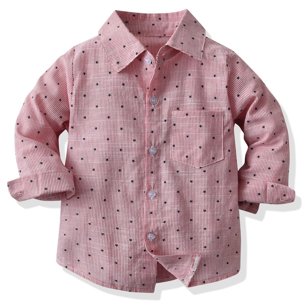 для мальчиков Рубашка с принтом звезды с карманом