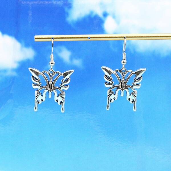Hollow Out Butterfly Drop Earrings, Antique silver