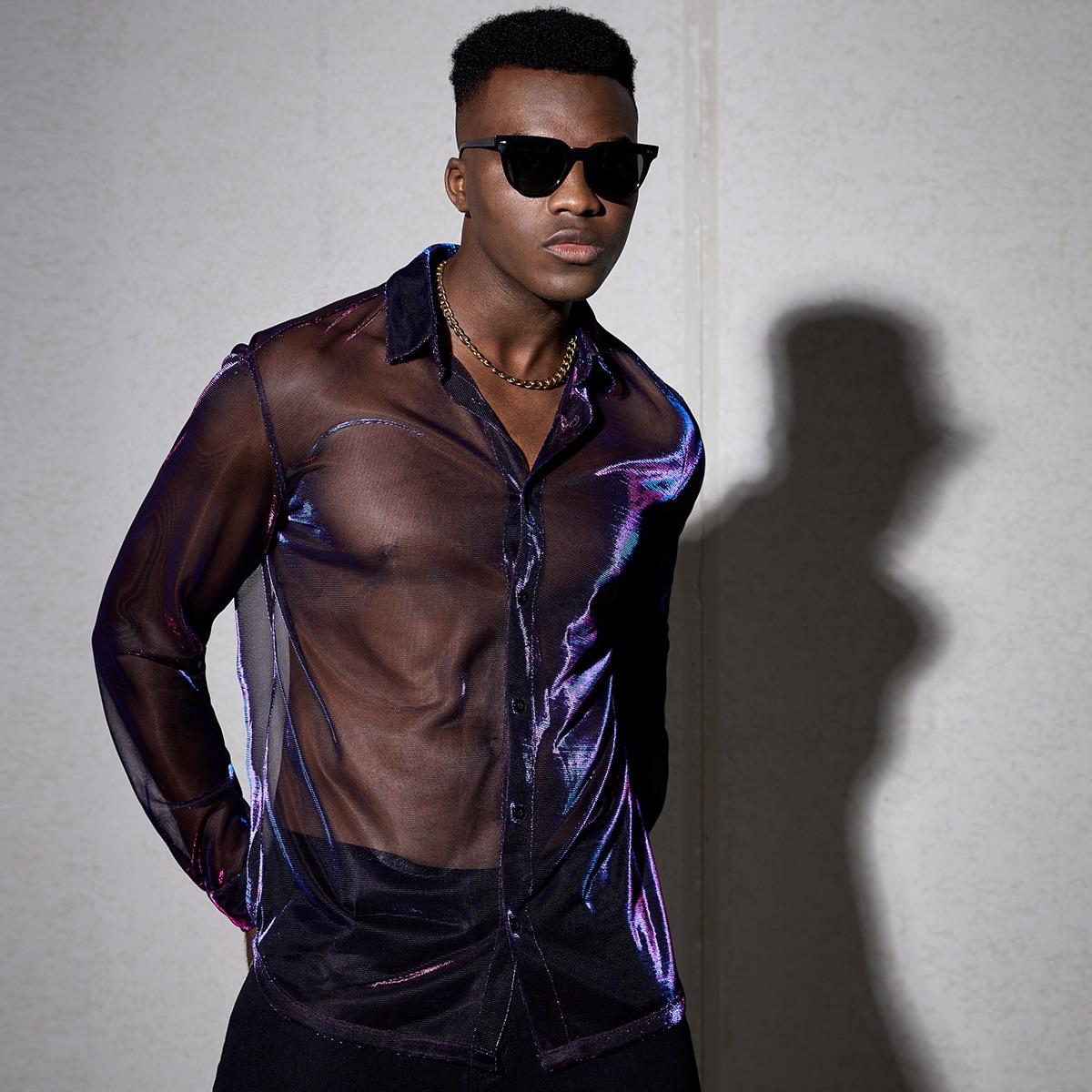 Мужской Рубашка голографический сетчатый