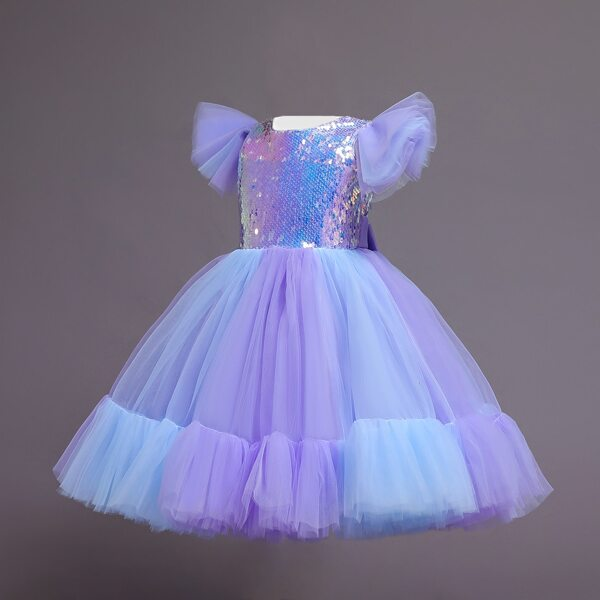 Toddler Girls Contrast Sequin Ruffle Trim Ombre Mesh Panel Party Dress With Headband, Purple