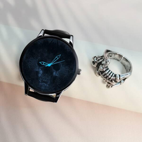 1pc Men Skull Print Dial Luminous Quartz Watch & 1pc Ring