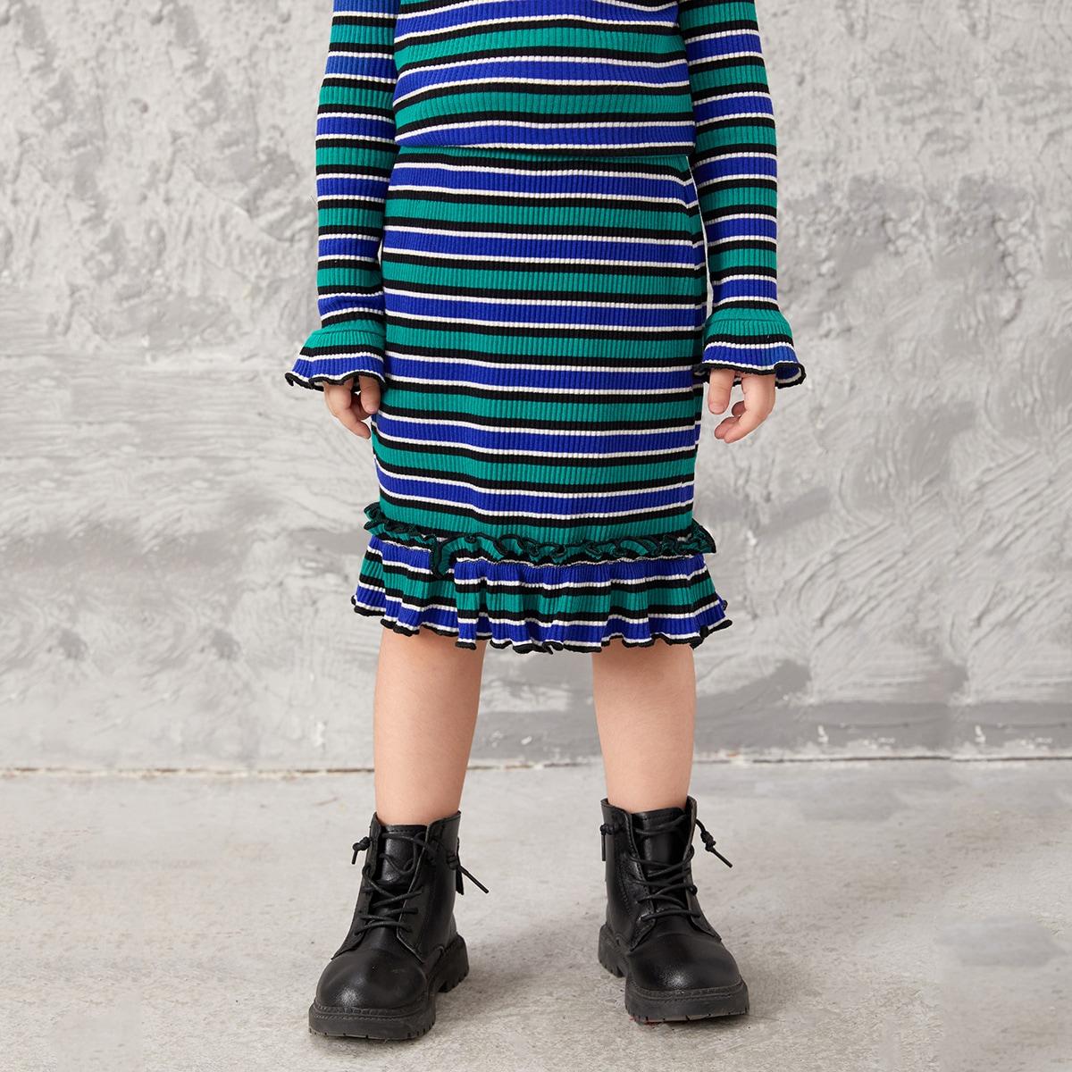 Toddler Girls Block Striped Frilled Ruffle Hem Skirt