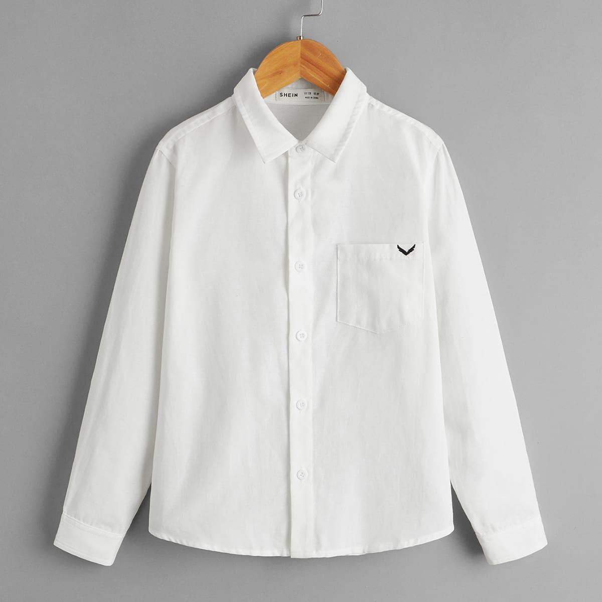для мальчиков Рубашка с вышивкой крыльев с краманом на пуговицах