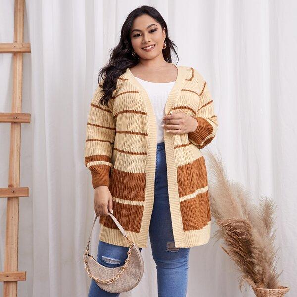 Plus Two Tone Stripe Pattern Raglan Sleeve Cardigan, Apricot