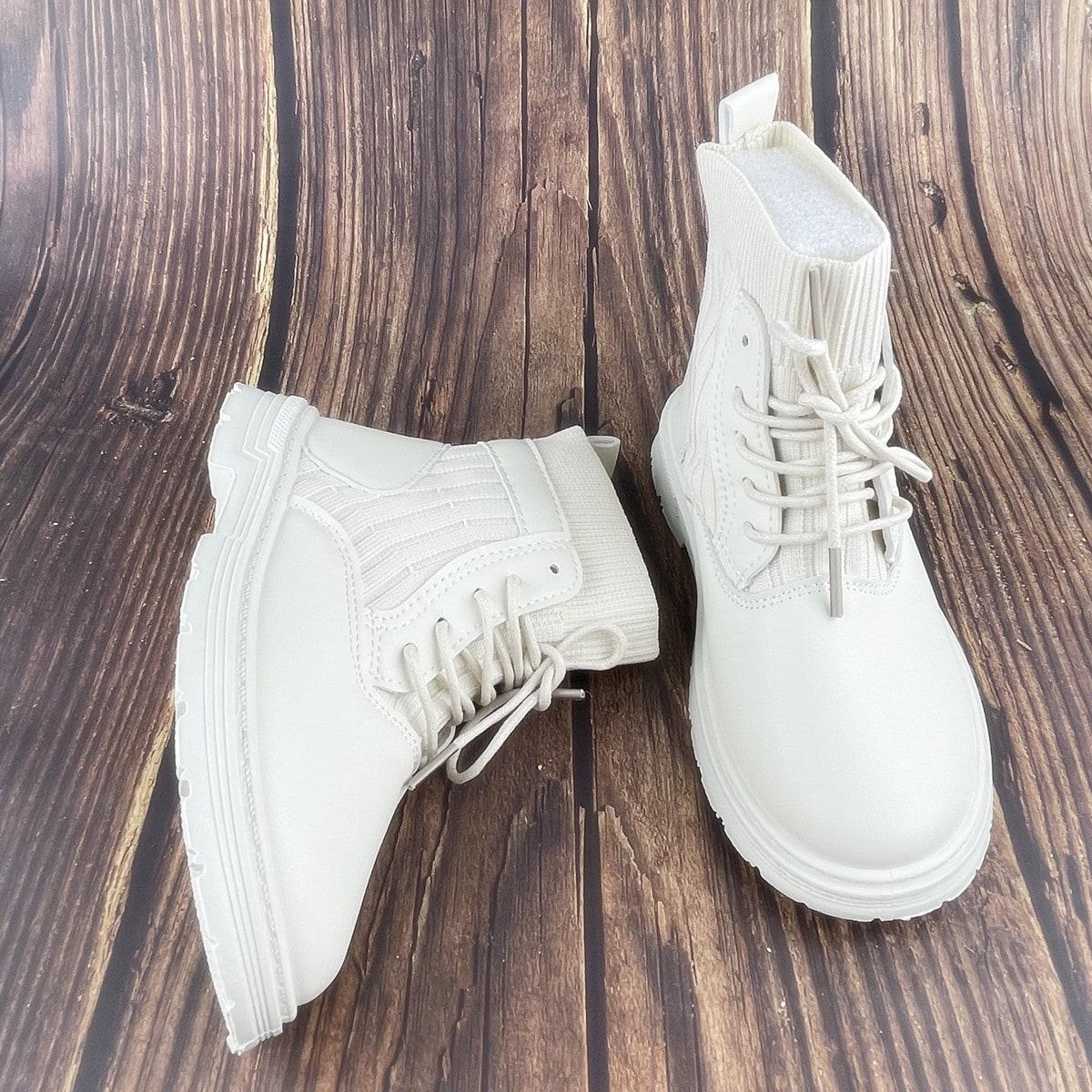 для девочек Ботинки на шнурках контрастный SheIn sk2108150049156862