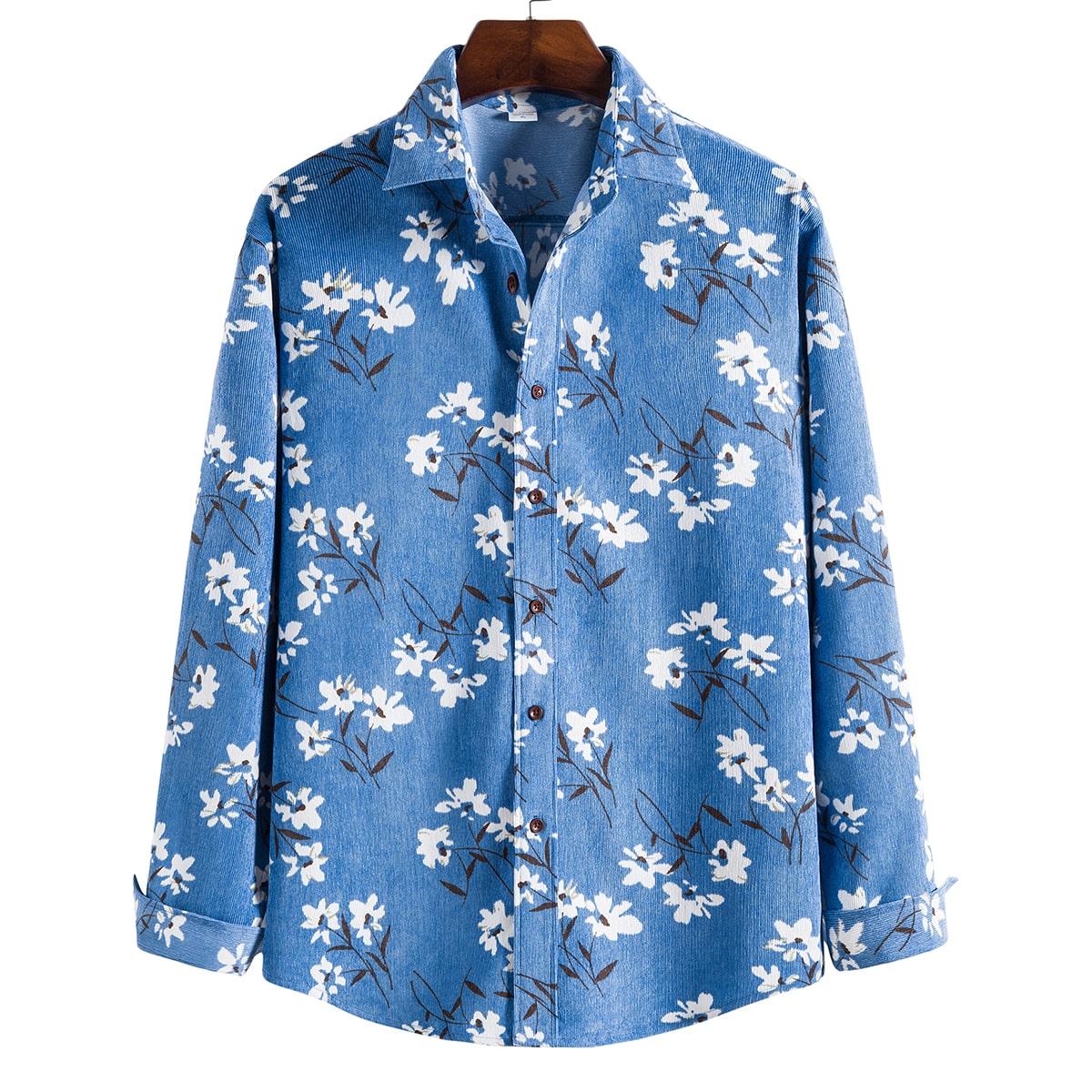 Со цветочками Принт Повседневный Мужские рубашки
