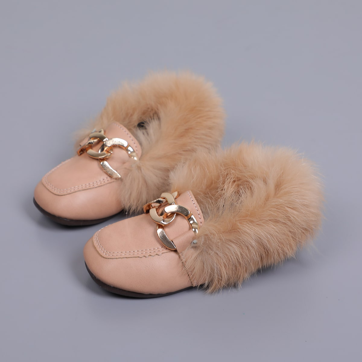 Toddler Girls Chain Decor Fluffy Flats, SHEIN  - buy with discount