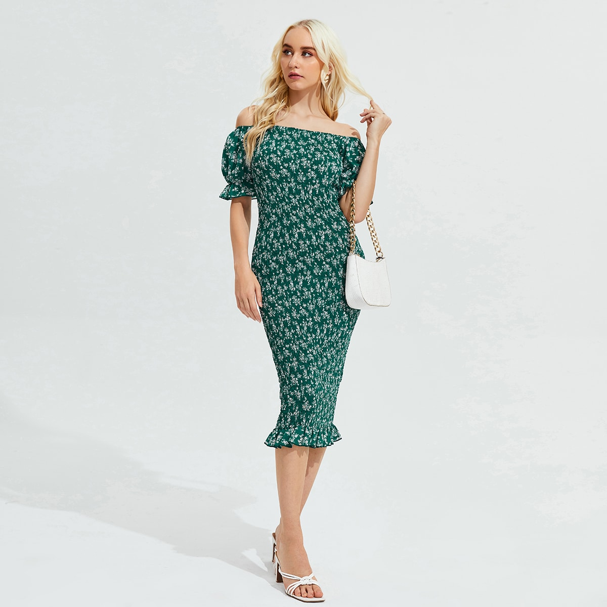 Off Shoulder Floral Print Puff Sleeve Bodycon Dress