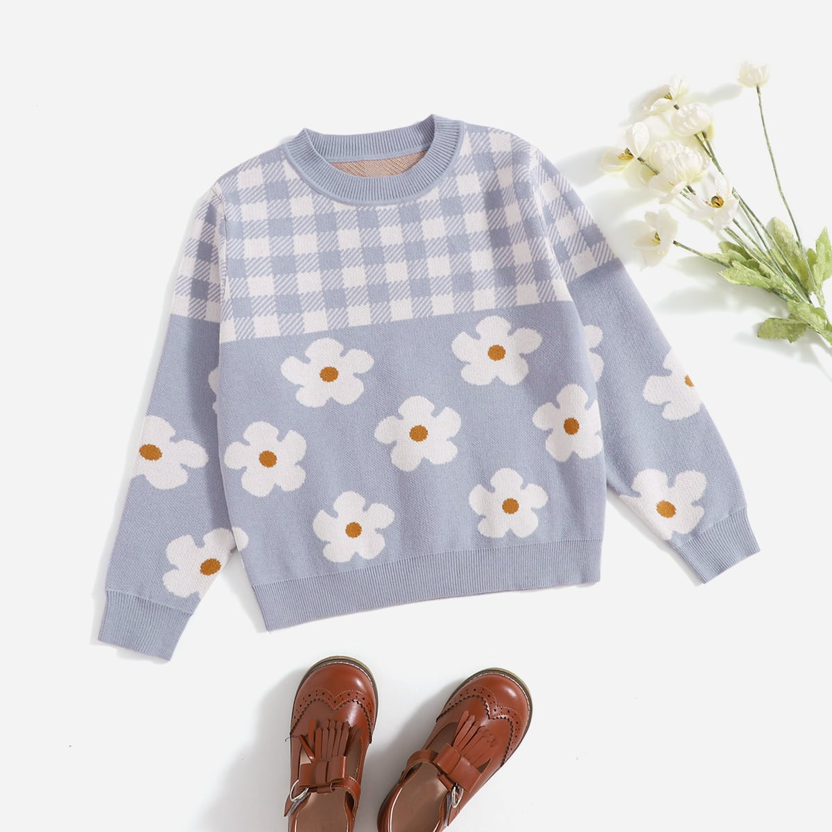 Girls Floral and Gingham Pattern Pullover Sweater, SHEIN  - buy with discount