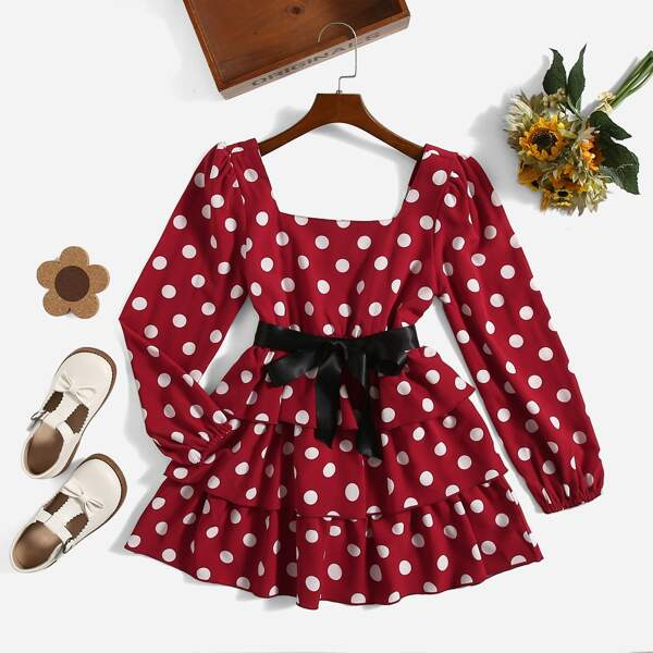 Girls Square Neck Polka Dot Belted Dress, Red and white