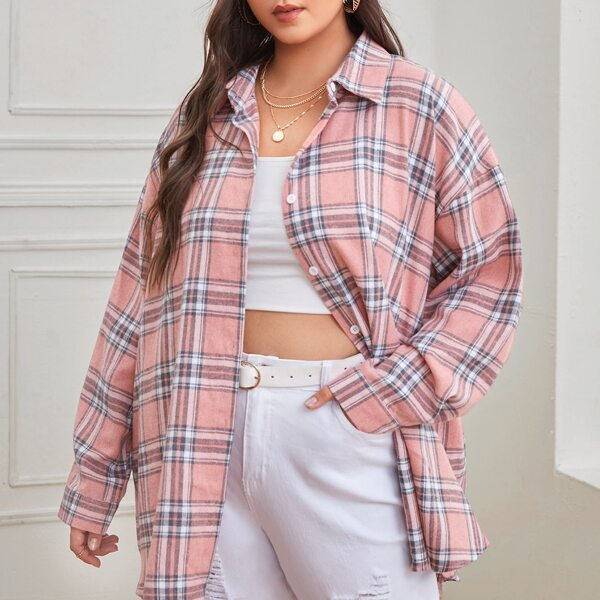 Plus Tartan Plaid Button Up Tunic Blouse, Pink
