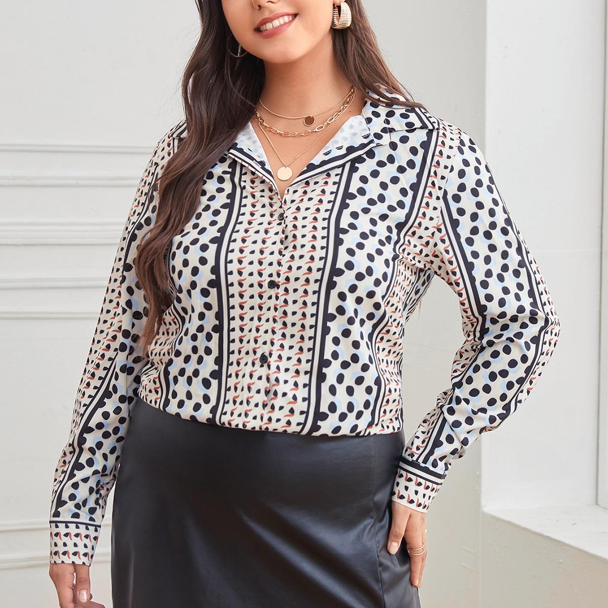 Plus Striped & Polka Dot Print Blouse, SHEIN  - buy with discount