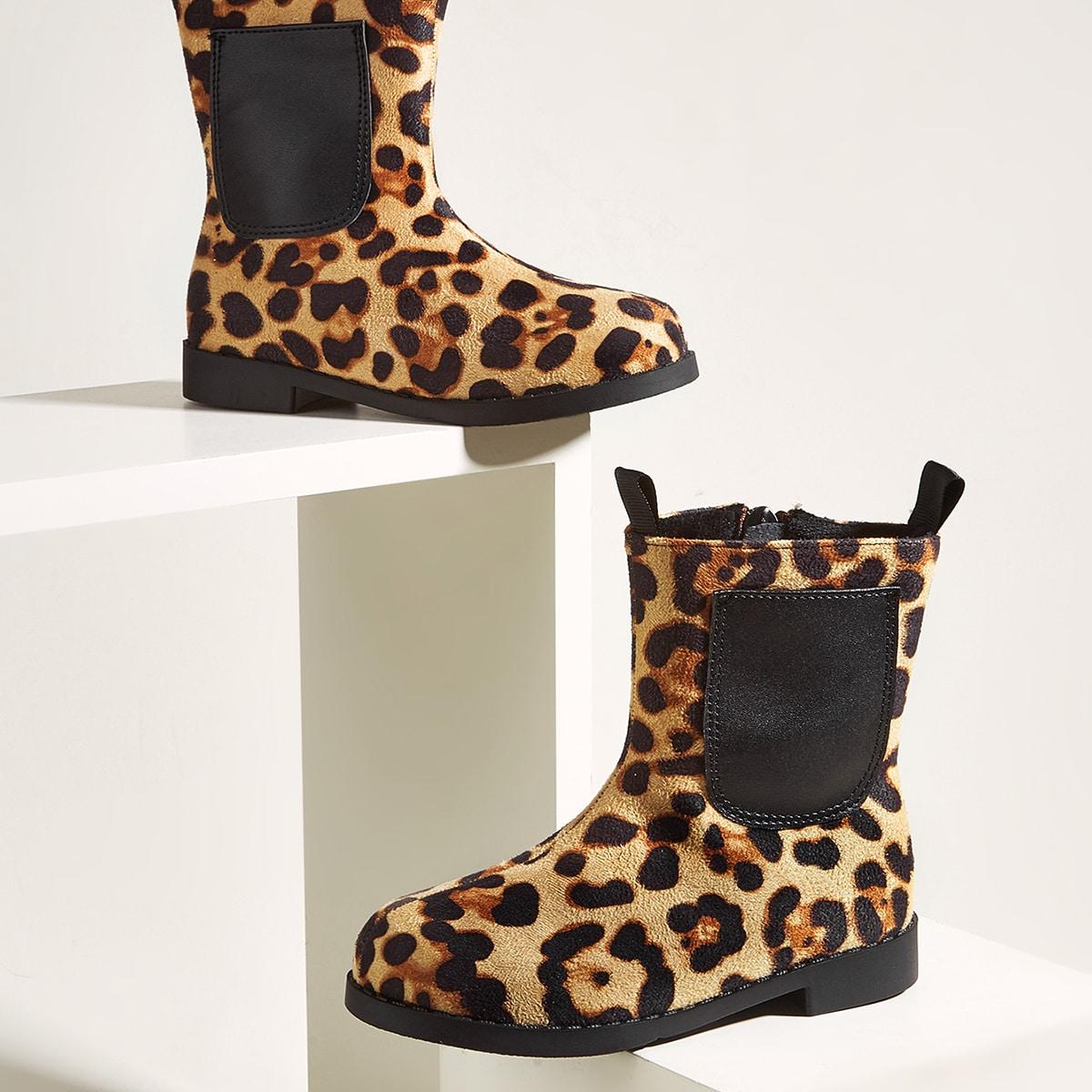 для девочек Ботинки с леопардовым принтом с карманом SheIn sk2108164920833537