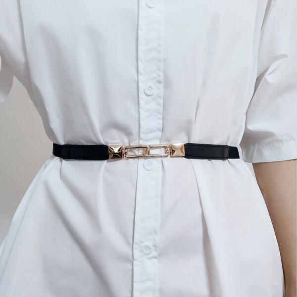 Metal Buckle Corset Belt, Black