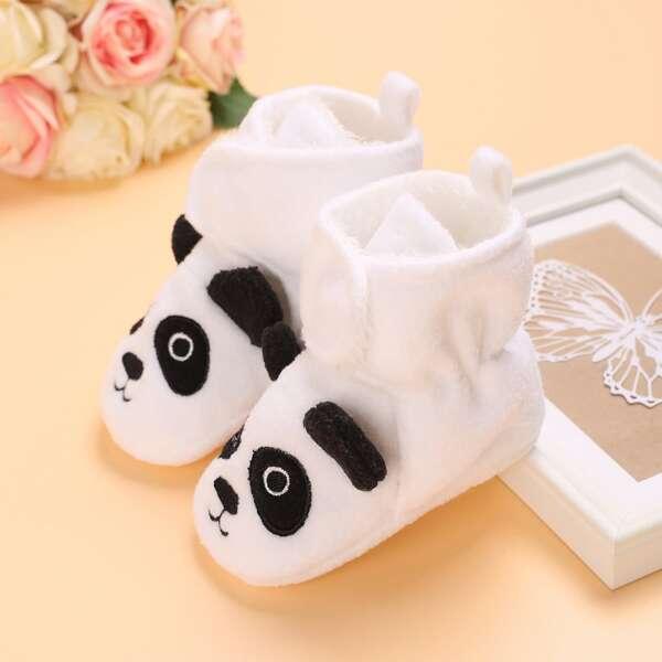 Baby Cartoon Panda Design Velcro Strap Boots, White