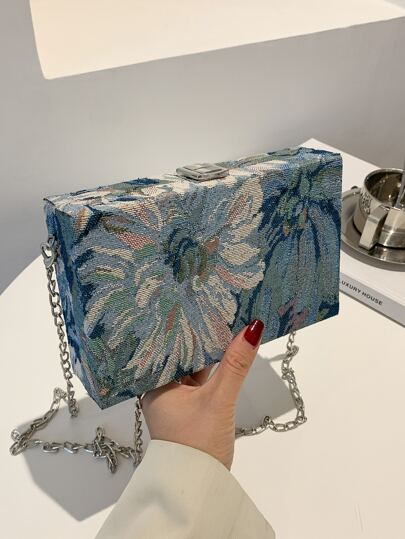 Floral Pattern Chain Box Bag