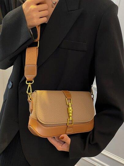 Litchi Embossed Flap Crossbody Bag