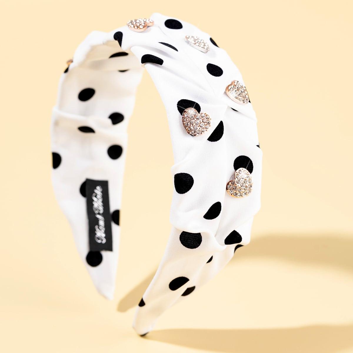 Polka Dot & Rhinestone Heart Decor Headband, SHEIN  - buy with discount