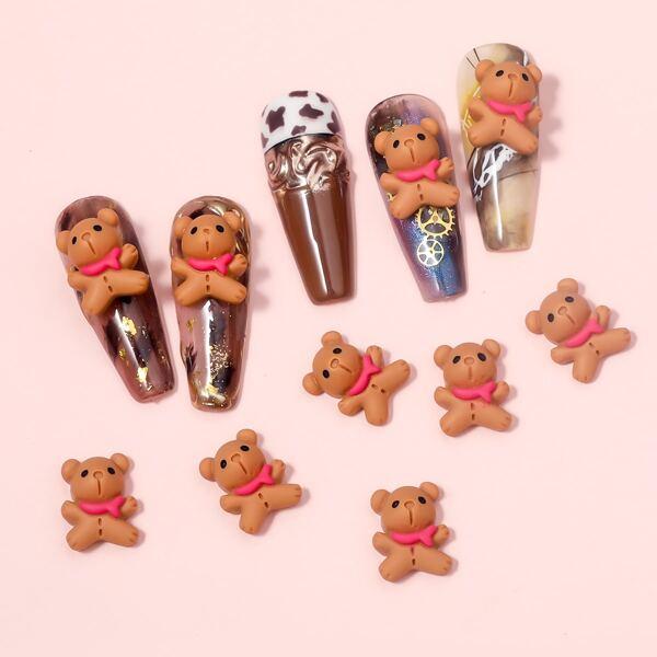 10pcs Bear Design Nail Art Decoration, Brown