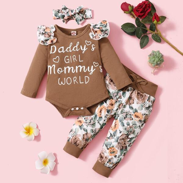 Baby Floral And Letter Graphic Ruffle Trim Bodysuit & Sweatpants & Headband, Multicolor