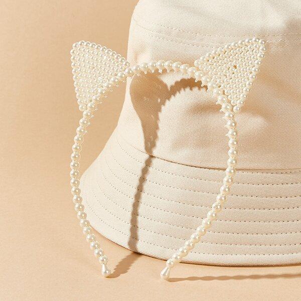 Faux Pearl Cat Ear Costume Hair Hoop, Beige