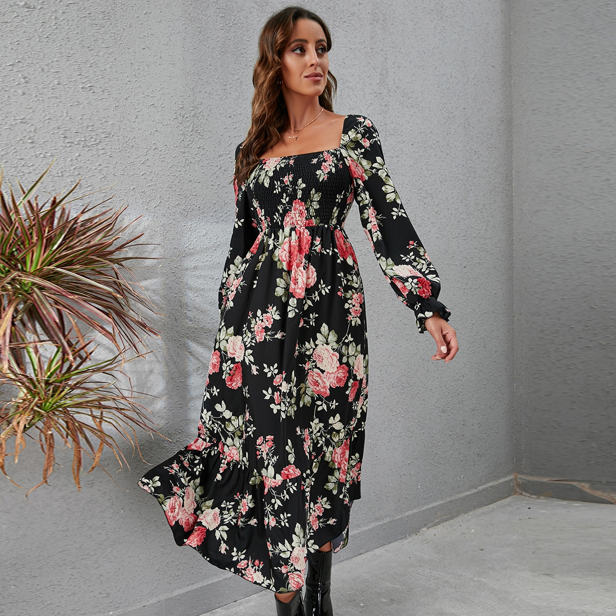 Square Neck Floral Print Knotted Back Ruffle Hem Dress, SHEIN  - buy with discount