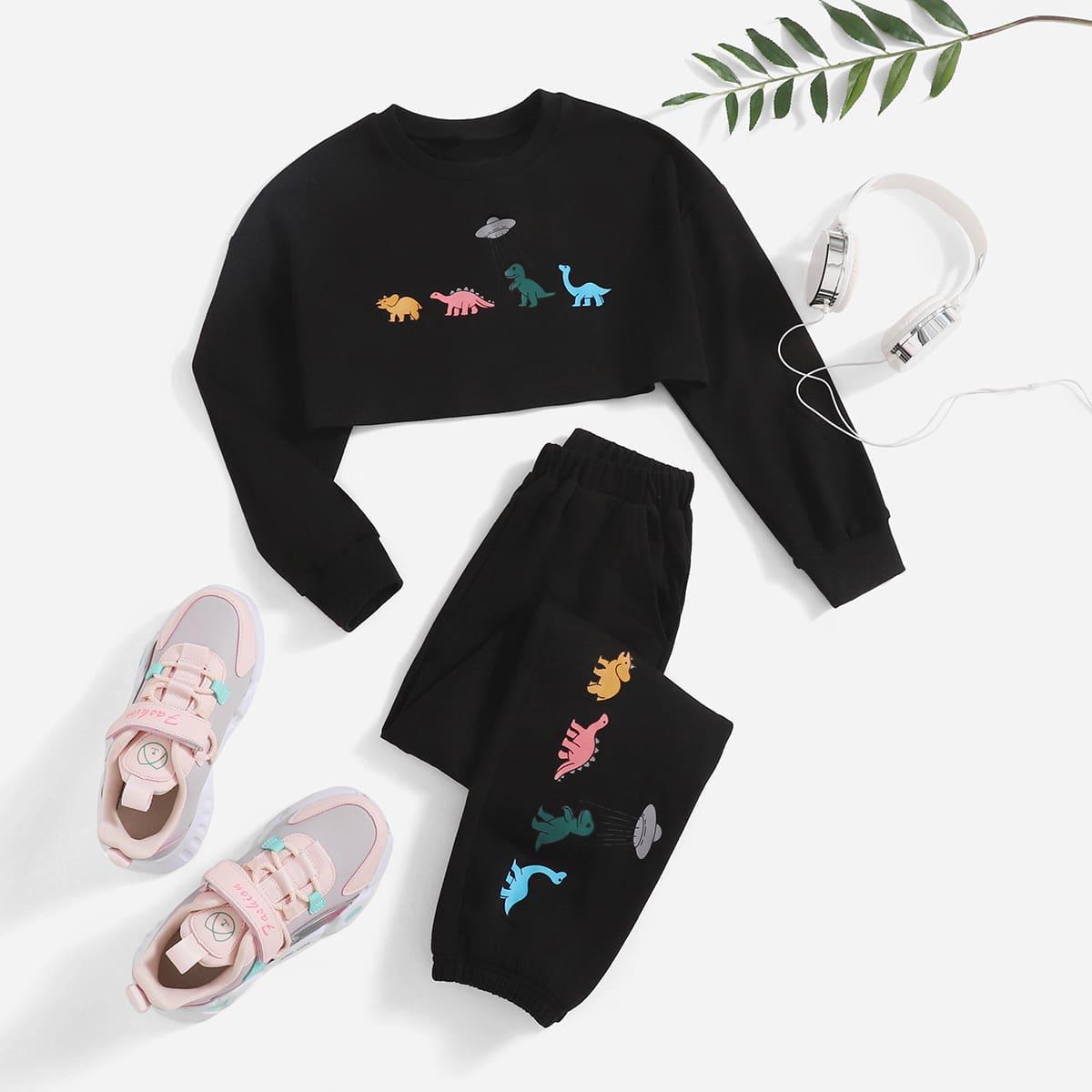 Girls Cartoon Graphic Crop Top & Sweatpants, SHEIN  - buy with discount