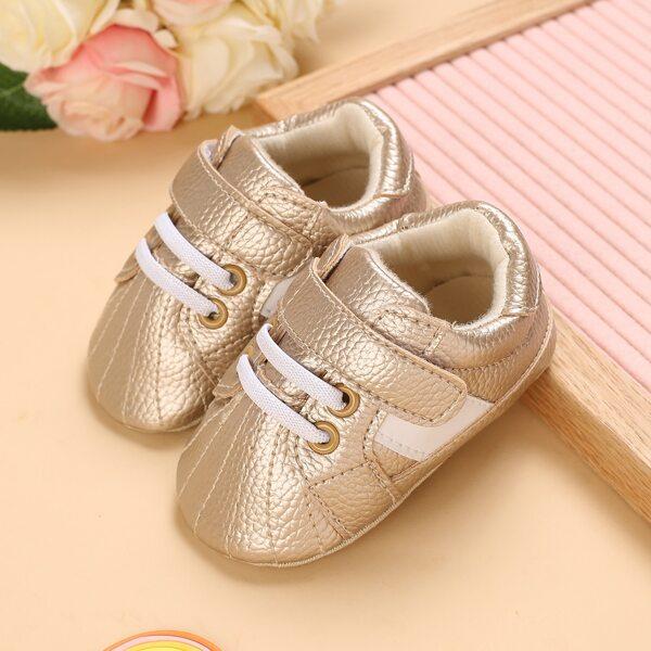 Baby Metallic Velcro Strap Sneakers, Gold