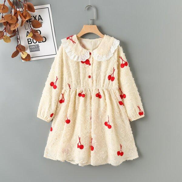 Girls Peter-pan Collar Cherry Print Fuzzy Dress, Apricot