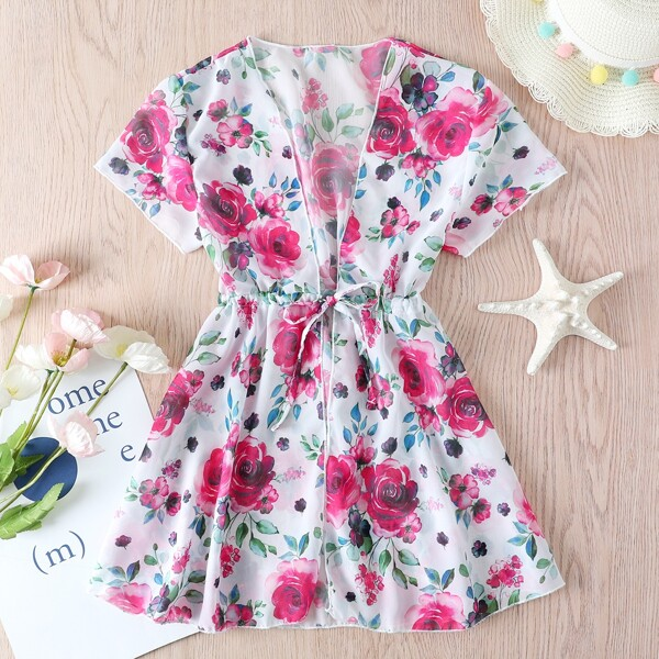 Girls Floral Print Tie Front Kimono, Hot pink