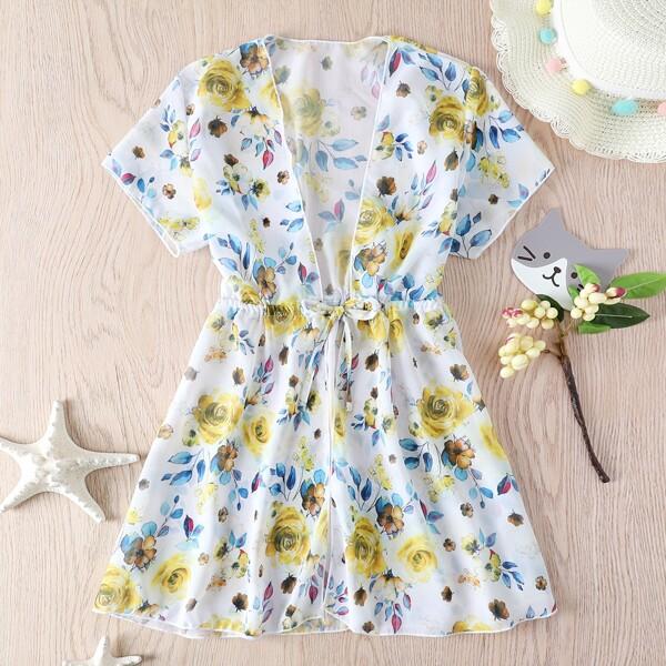 Girls Floral Print Tie Front Kimono, Yellow