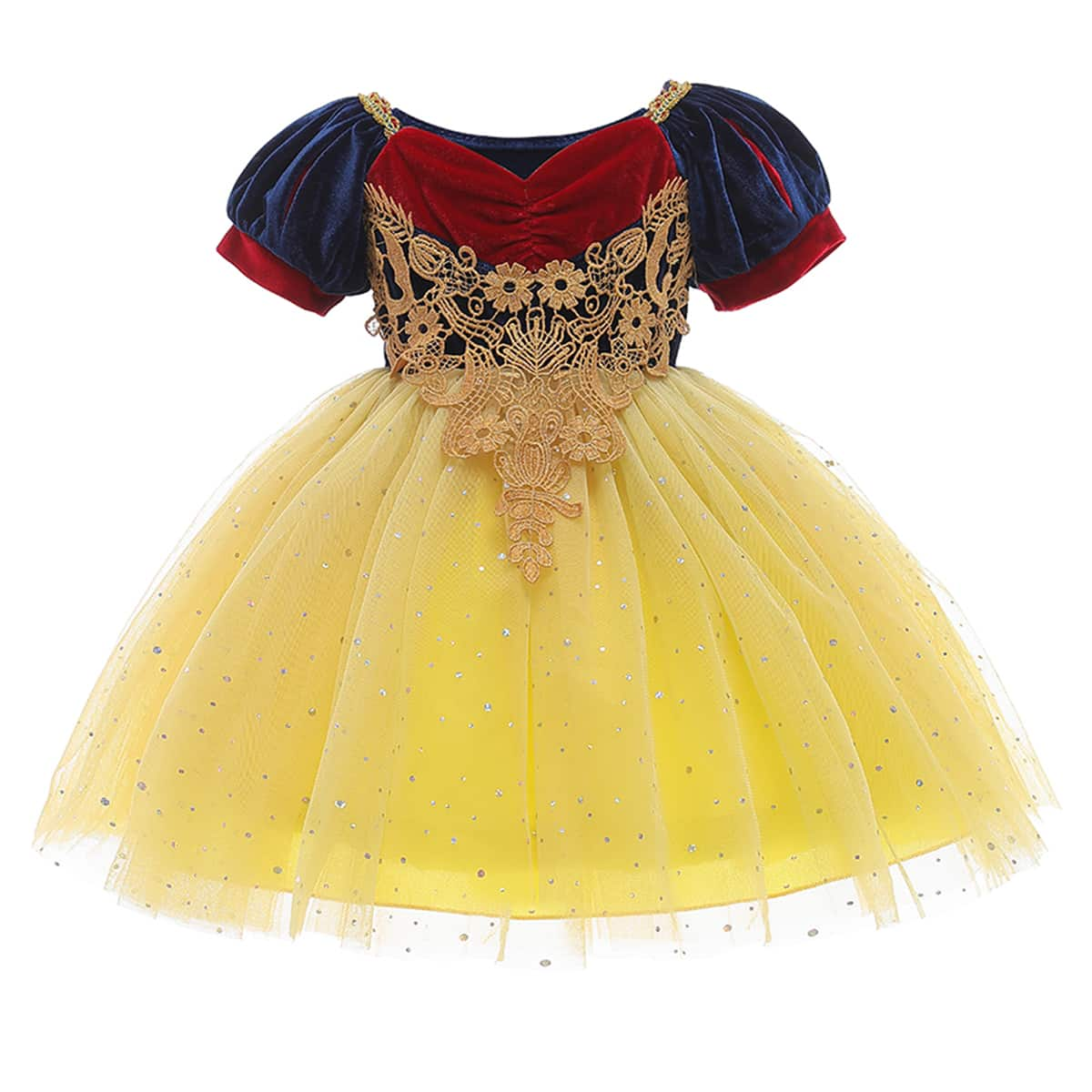 Toddler Girls Guipure Lace Appliques Puff Sleeve Mesh Overlay Gown Dress
